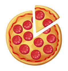Pepperoni pizza with sausages top view vector