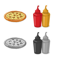 Pizza and food icon set of vector