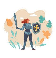 portrait female knight vector image