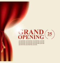 Poster with curtains and the words grand opening vector