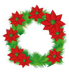 Realistic color crown with poinsettia christmas vector