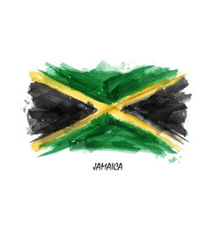realistic watercolor painting flag of jamaica vector image