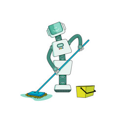 robot doing housework on cleaning home - washing vector image