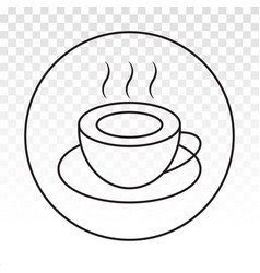 Rounded a cup hot coffee cafe or caffeine vector