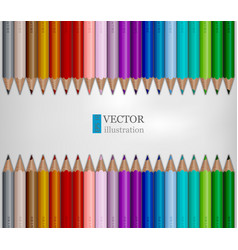 rows of rainbow colored pencils on white vector image