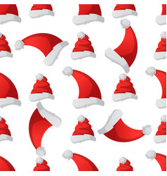 santa claus fashion red hat seamless pattern vector image