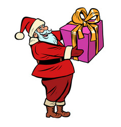santa claus with gift box christmas and new year vector image