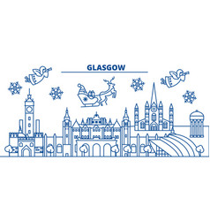 Scotland glasgow winter city skyline merry vector