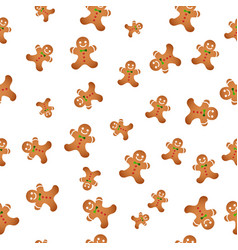 seamless background with christmas cookies vector image