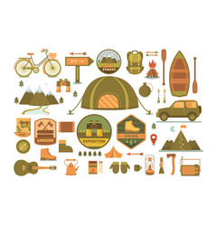 Set camping tools vector