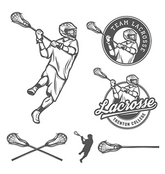 set lacrosse design elements vector image