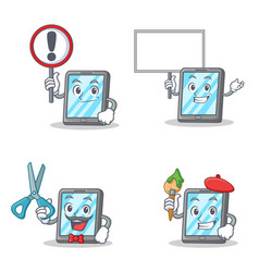 set of tablet character with sign bring board vector image