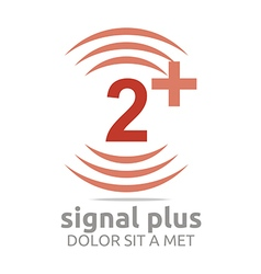 Signal number 2 plus red figure wireless vector