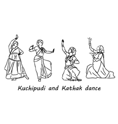 silhouettes indian dancers vector image