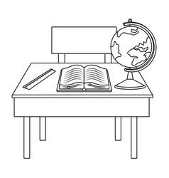 Teacher desk school design vector
