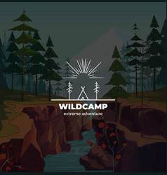 Trendy camping logo badge in outline style on vector