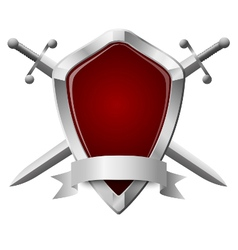 two double-edged swords and a shield isolated vector image