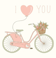 Valentine card with pink bicycle vector