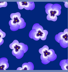 violet pansy flower on navy blue background vector image