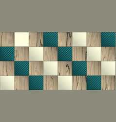 Wallpaper with elegant wooden and plastic tiles vector