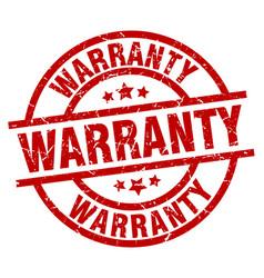 Warranty round red grunge stamp vector