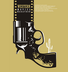 Western movies cinema poster design vector