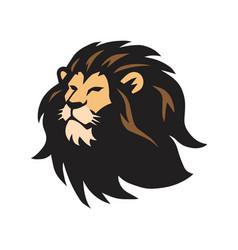 Wild lion head logo template design vector