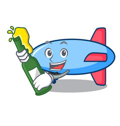 With beer zeppelin mascot cartoon style vector