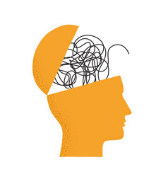 With human head silhouette brain as tangled vector