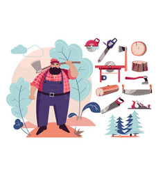 woodcutter or lumberjack cutting tools and wood vector image