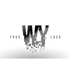 Wy w y pixel letter logo with digital shattered vector