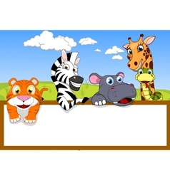 Animal Cartoon With Blank Sign vector image vector image