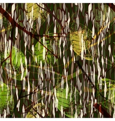 Camouflage seamless pattern with realistic leaves vector image vector image