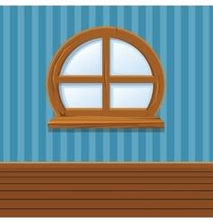 Cartoon Wooden window Home Interior vector image