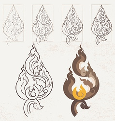 Freehand drawing Lion Tail Thai arts vector image