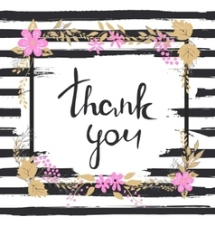 Handwritten Thank you text Frame of flowers vector image vector image