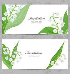 invitation cards with fine lilies of the valley vector image