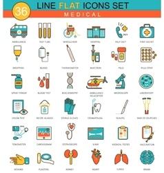 Medical Medicine flat line icon set Modern vector image vector image