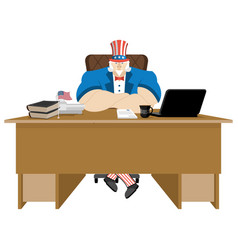 american patriot boss uncle sam sitting in office vector image vector image