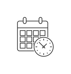 calendar with clock vector image vector image