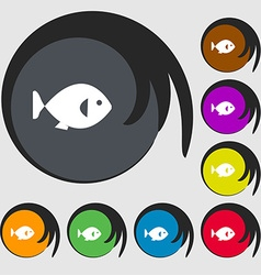 fish icon sign Symbols on eight colored buttons vector image