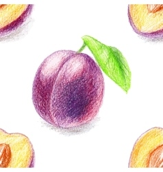 Seamless pattern with sweet plum vector image