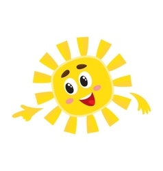 Smiling sun pointing to something with its finger vector image vector image
