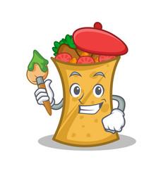 Artist kebab wrap character cartoon vector