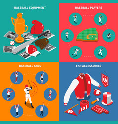 baseball isometric concept vector image vector image