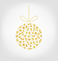 christmas tree ball from golden gift box and vector image