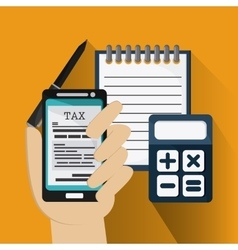 Document and smartphone icon Tax and Financial vector image