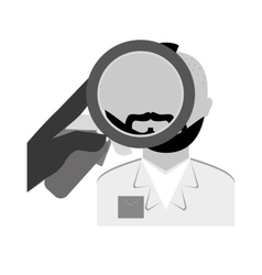 Grayscale police investigating the criminal icon vector