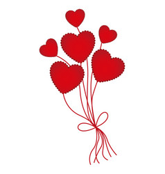 red heart balloons icon vector image