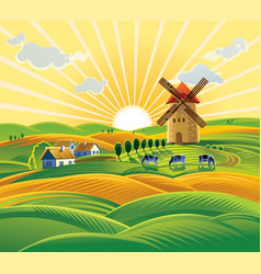 rural landscape with a windmill village and herd vector image